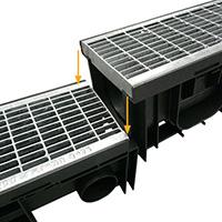 SabiDrain, les caniveaux en PP-HD avec grilles en fonte ou galva prémontées