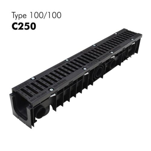 Caniveaux 100/100 de classe C250 en plastiques avec grilles en fonte prémontées