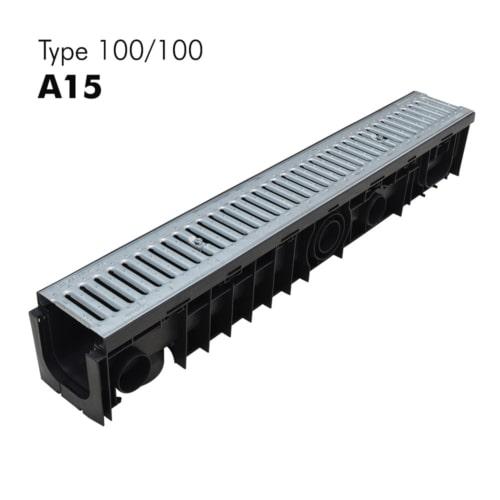 Caniveaux de classe A15 100/100 en PP-HD avec grilles en galva prémontées