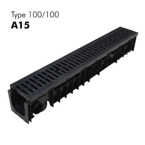 Caniveau de classe A15 100-100 en PP-HD avec grille en polypropylène prémontée