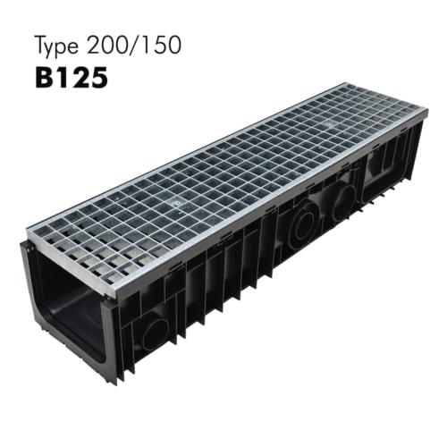 Caniveaux 200x150 de classe B125 en plastiques avec grilles en galva prémontées