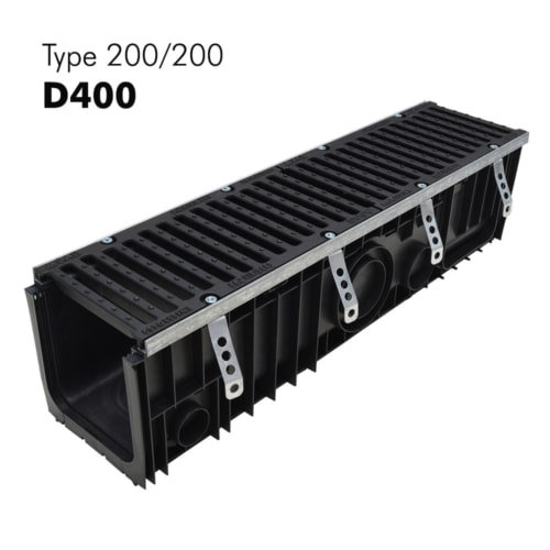 Caniveau 200/200 de classe D400 en PP-HD avec grille en fonte prémontée