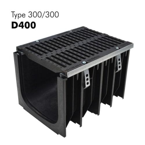 Caniveaux 300/300 de classe D400 en PP-HD avec grilles en fonte prémontées