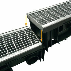 Les caniveaux SabiDrain possèdent un système d'emboitement à la verticale sans enlever les grilles