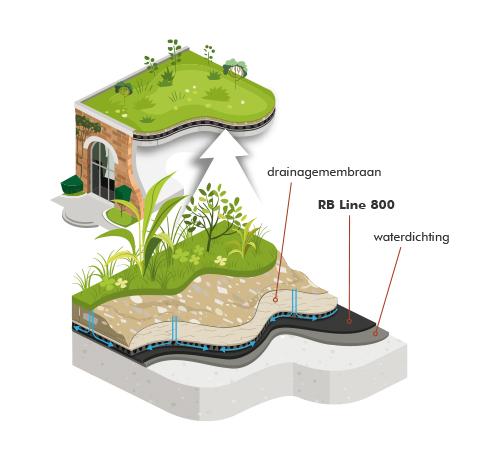 RB Line 800 wortelwerend scherm voor groendaken