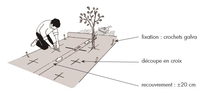 Weedtex géotextile de paillage non-tissé pour le contrôle de l'érosion et des mauvaises herbes